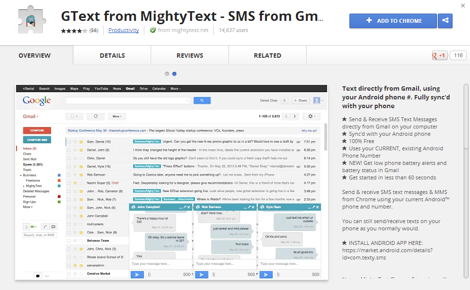 MightyText - SMS-app integrated in GMail with a BETA Chrome